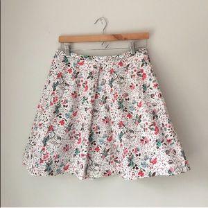 GAP Floral Vine Print Pleated Skirt
